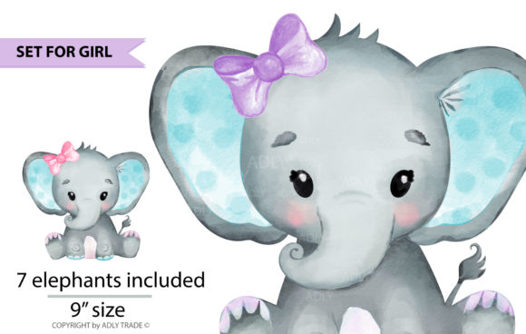 Elephant Girl Watercolor Clipart Set Graphic By adlydigital Image 3