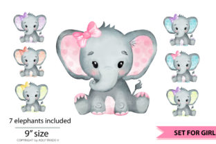 Elephant Girl Watercolor Clipart Set Graphic By adlydigital