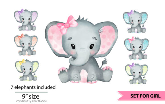 Print on Demand: Elephant Girl Watercolor  Graphic Illustrations By adlydigital