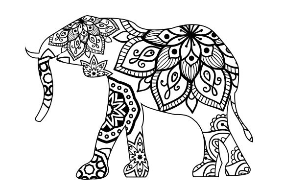 Elephant Mandala Line Art Style Animales Archivo de Corte Craft Por Creative Fabrica Crafts