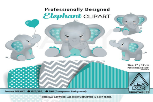 Elephant Teal and Gray Clipart 4 Styles Graphic By adlydigital