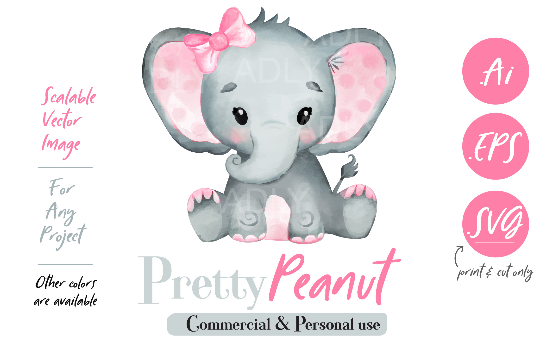 Download Free Elephant Watercolor Vector Graphic By Adlydigital Creative Fabrica for Cricut Explore, Silhouette and other cutting machines.
