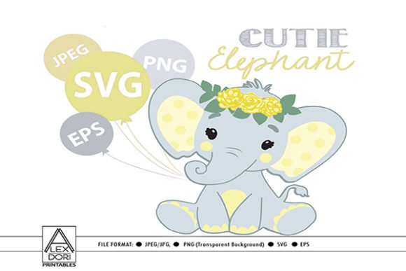 Print on Demand: Elephant Yellow Girl Graphic Print Templates By adlydigital