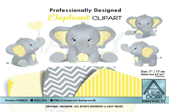 Print on Demand: Elephant Yellow Clip Art + Free Patterns Graphic Print Templates By adlydigital