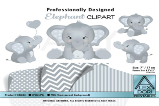 Elephants Clipart in 4 Styles+ 3 Pattern Graphic By adlydigital
