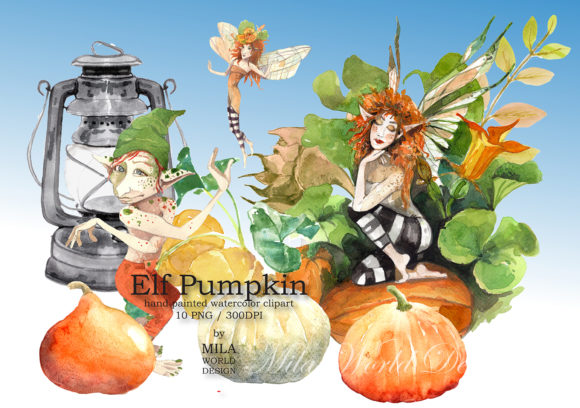Elf Pumpkin Watercolor Clip Art Graphic Illustrations By MilaWorldDesing
