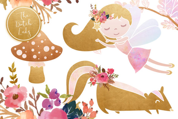 Print on Demand: Enchanted Fairy Forest Clipart Set Graphic Illustrations By daphnepopuliers - Image 5