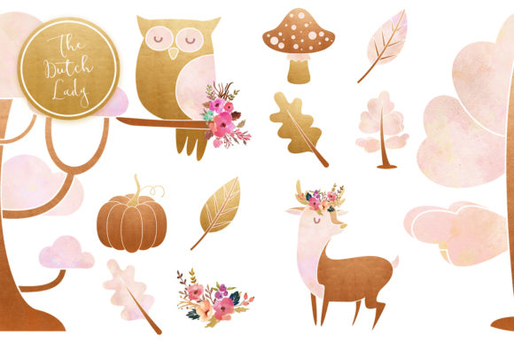 Print on Demand: Enchanted Fairy Forest Clipart Set Graphic Illustrations By daphnepopuliers - Image 6