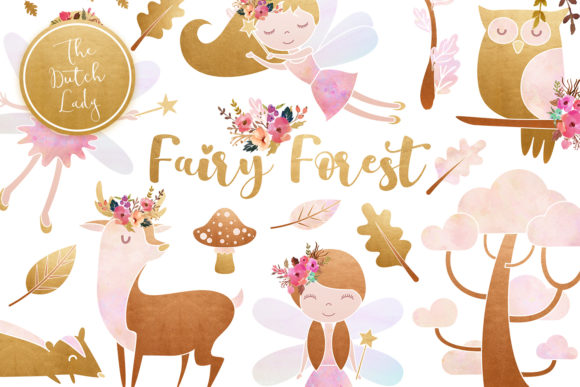 Print on Demand: Enchanted Fairy Forest Clipart Set Graphic Illustrations By daphnepopuliers