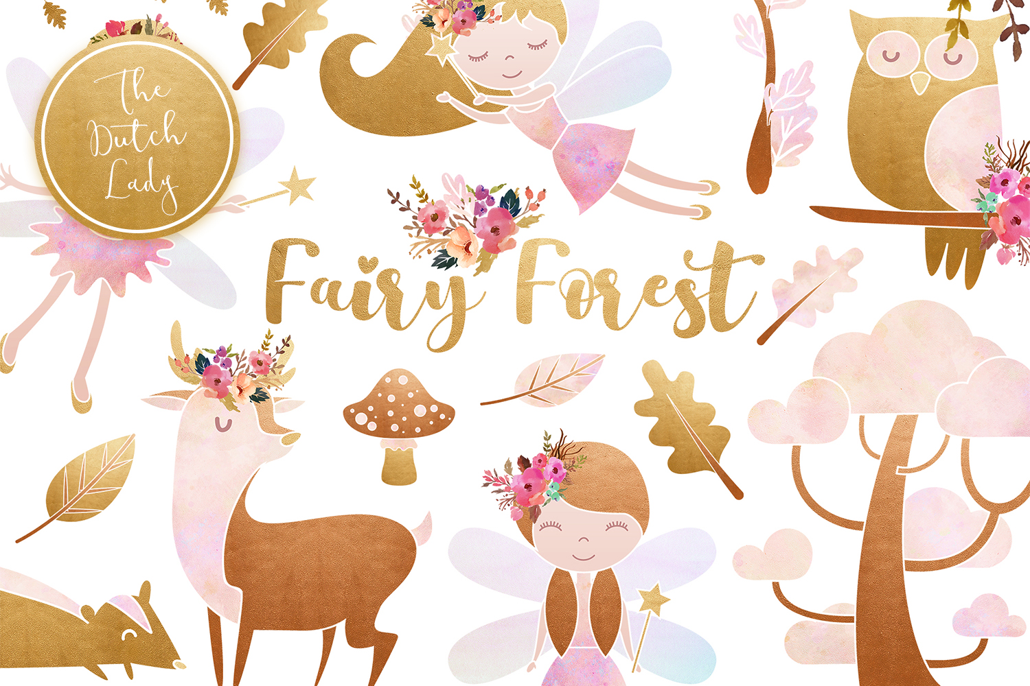 Download Free Enchanted Fairy Forest Clipart Set Graphic By Daphnepopuliers for Cricut Explore, Silhouette and other cutting machines.