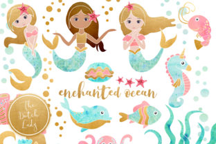 Print on Demand: Enchanted Mermaid Ocean Clipart Set Graphic Illustrations By daphnepopuliers