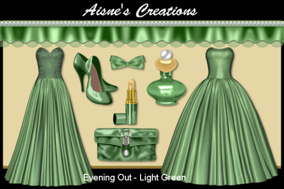 Print on Demand: Evening out - Light Green Graphic Objects By Aisne