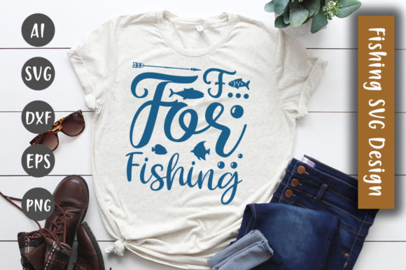 Print on Demand: F for Fishing  SVG Design Graphic Crafts By CreativeArt