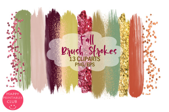 Print on Demand: Fall Brush Strokes Clipart- Brush Stroke Graphic Illustrations By Happy Printables Club