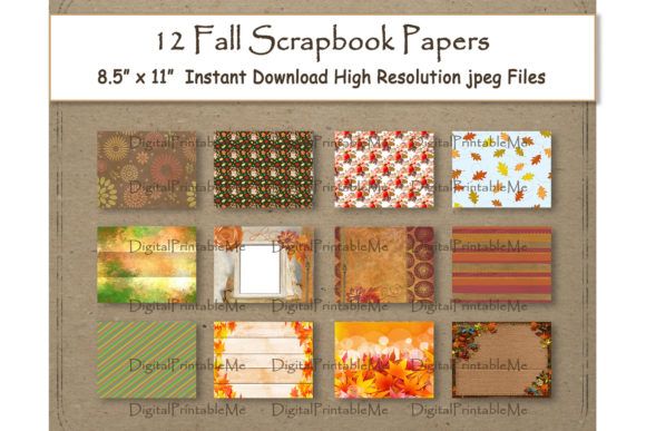 Fall Digital Paper Pages Scrapbook Paper Gráfico Fondos Por DigitalPrintableMe
