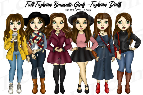 Fall Fashion Girls Clipart Graphic Illustrations By Deanna McRae