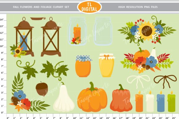 Fall Flowers and Foliage Graphic Illustrations By TL Digital - Image 2