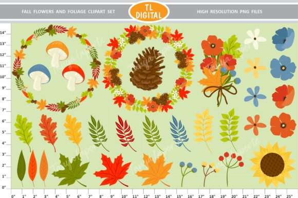 Fall Flowers and Foliage Graphic Illustrations By TL Digital - Image 3