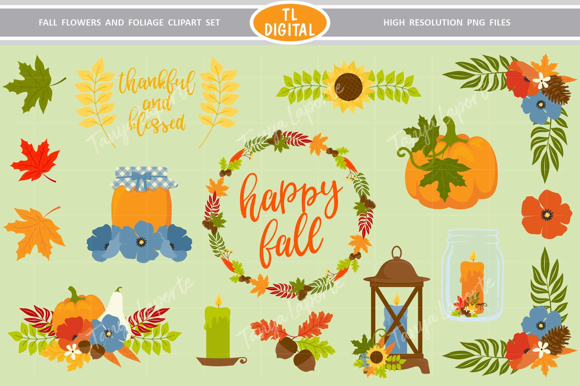 Download Free Fall Flowers And Foliage Graphic By Tl Digital Creative Fabrica for Cricut Explore, Silhouette and other cutting machines.