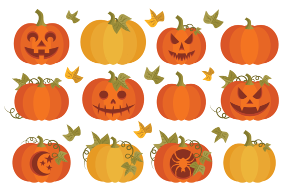 Print on Demand: Fall Pumpkins Clip Art Set Grafik Objekte von Running With Foxes