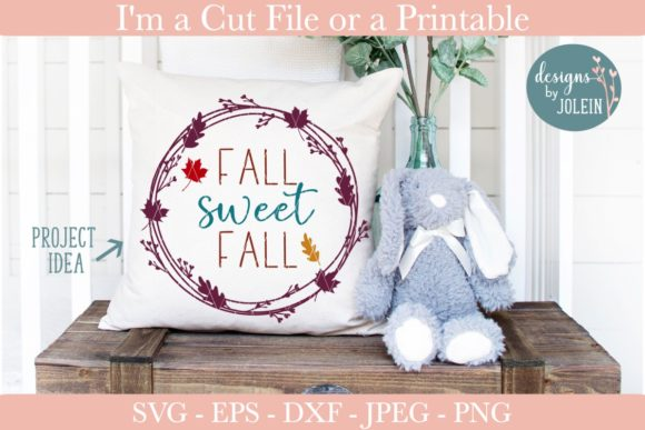 Download Free Fall Sweet Fall Wreath Graphic By Designs By Jolein Creative for Cricut Explore, Silhouette and other cutting machines.