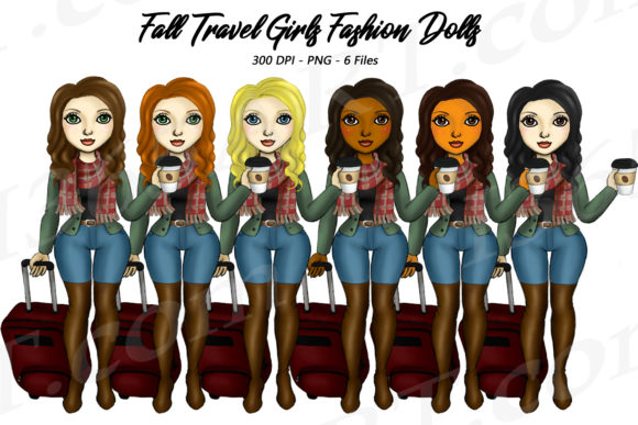 Fall Travel Luggage Fashion Girls Graphic Illustrations By Deanna McRae