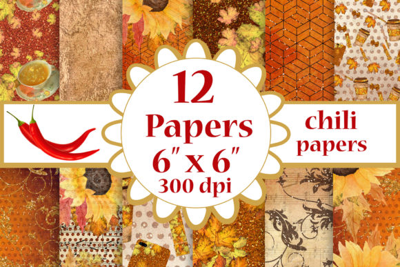 Fall Digital Papers, Sunflower Papers Graphic Crafts By ChiliPapers