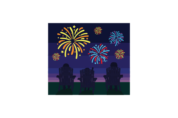 Family Sitting on Lawn Chairs Watching Fireworks Independence Day Craft Cut File By Creative Fabrica Crafts - Image 1