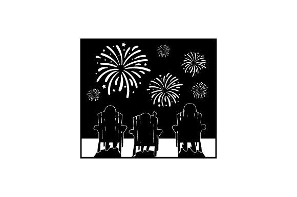 Family Sitting on Lawn Chairs Watching Fireworks Independence Day Craft Cut File By Creative Fabrica Crafts - Image 2