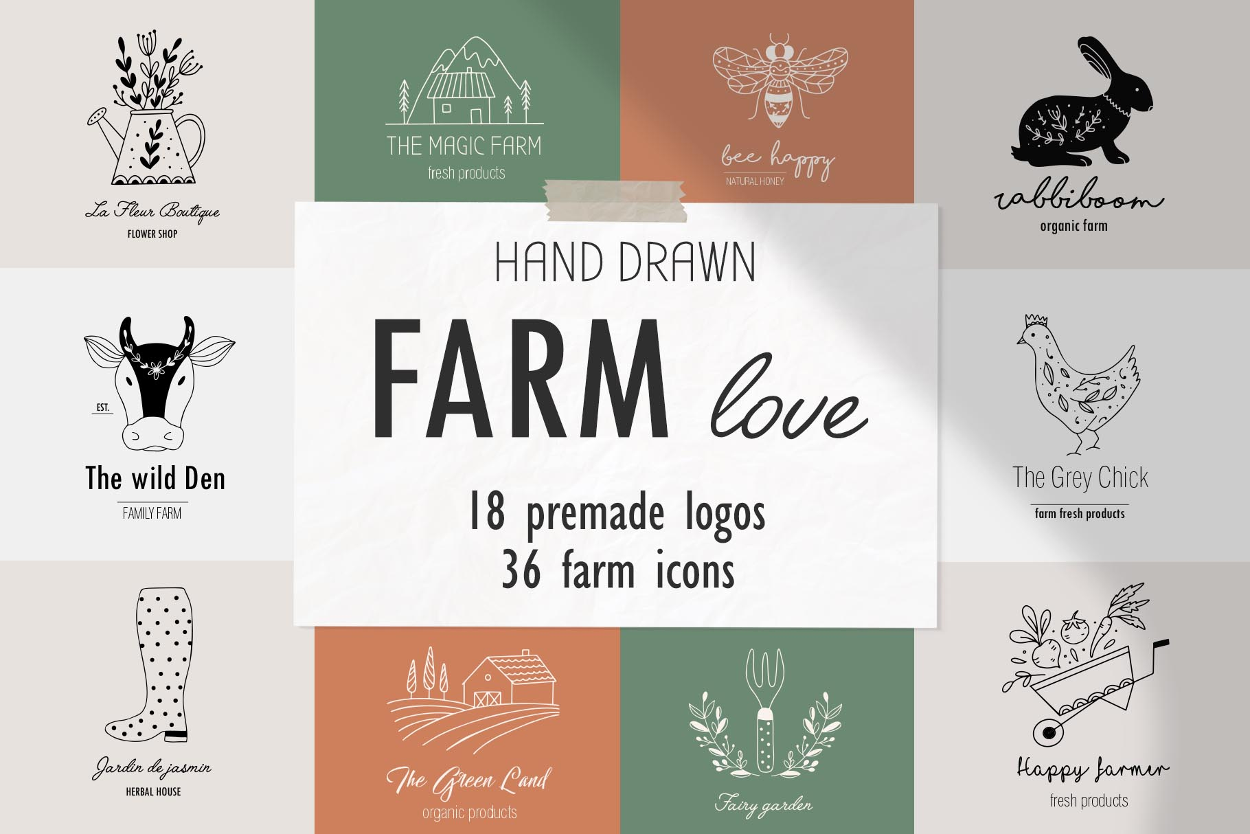 Download Free Farm Love Premade Logos Set Graphic By Alisovna Creative Fabrica for Cricut Explore, Silhouette and other cutting machines.
