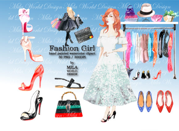 Download Free Fashion Girl Watercolor Clip Art Graphic By Milaworlddesing for Cricut Explore, Silhouette and other cutting machines.