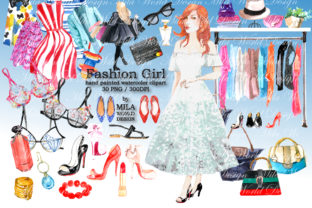 Fashion Girl Watercolor Clip Art Graphic Illustrations By MilaWorldDesing