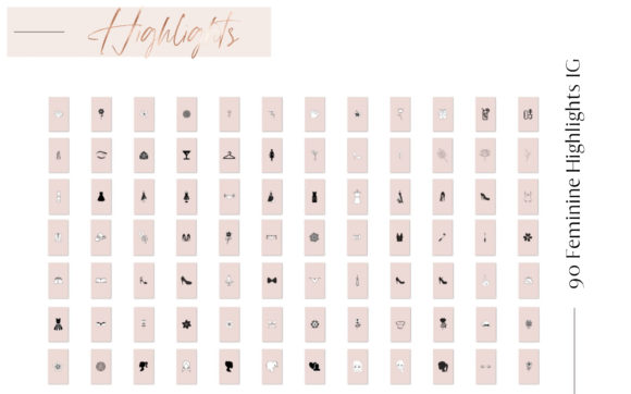 Feminine Highlights IG, Fashion + Flower Graphic Web Elements By Creative Stash - Image 3