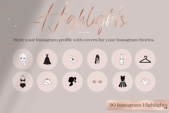 Feminine Highlights IG, Fashion + Flower Graphic Web Elements By Creative Stash