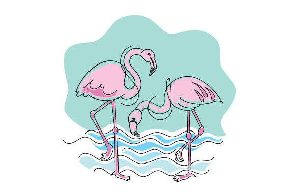 Flamingos in Abstract Print Style Summer Craft Cut File By Creative Fabrica Crafts - Image 1