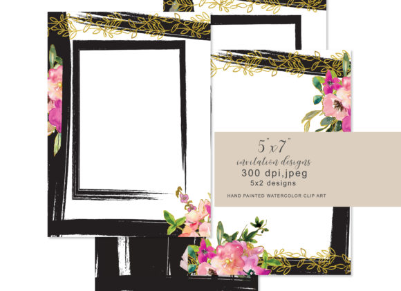 Floral 5x7 Invitation Design Collection Graphic By Patishop Art Image 2