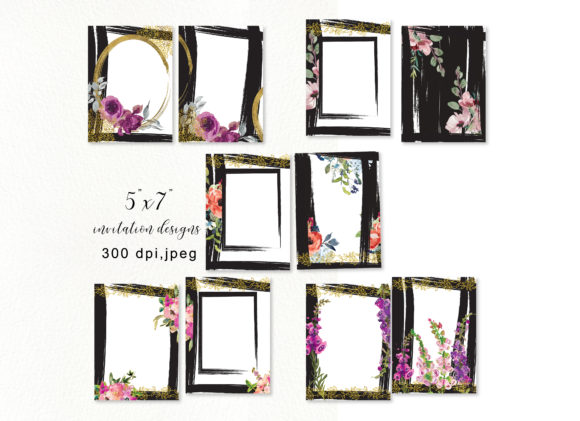 Floral 5x7 Invitation Design Collection Graphic By Patishop Art Image 7