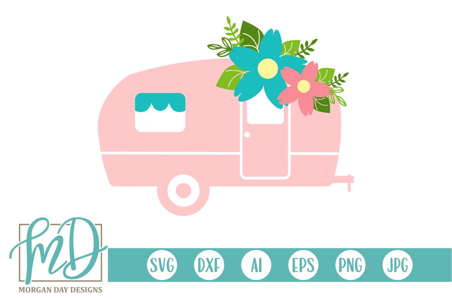 Download Free Floral Camper Graphic By Morgan Day Designs Creative Fabrica for Cricut Explore, Silhouette and other cutting machines.