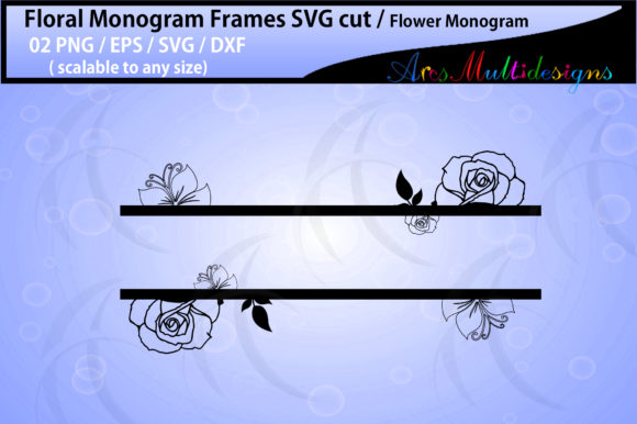 Print on Demand: Floral Frames, Flower Monogram Graphic Crafts By Arcs Multidesigns - Image 3