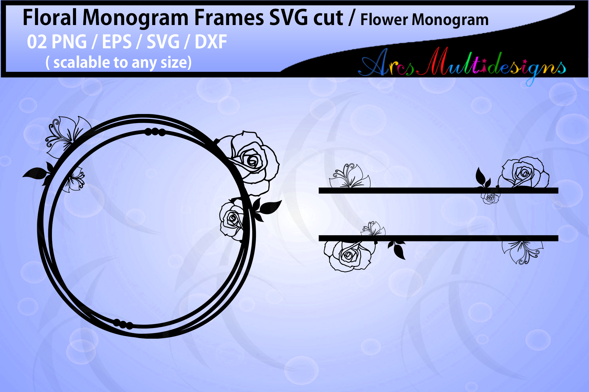Download Free Floral Frames Flower Monogram Graphic By Arcs Multidesigns for Cricut Explore, Silhouette and other cutting machines.