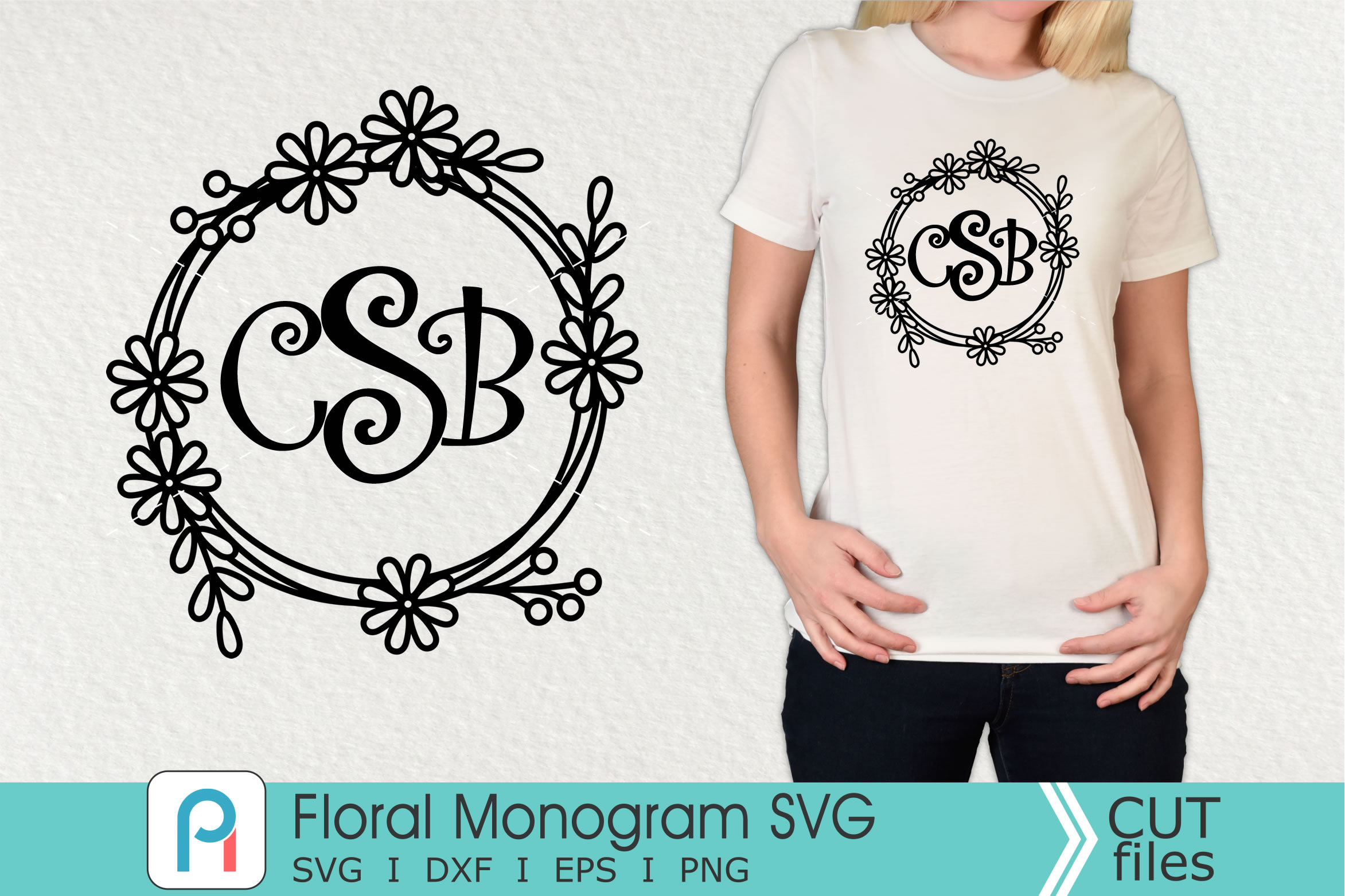 Download Free Floral Monogram Graphic By Pinoyartkreatib Creative Fabrica for Cricut Explore, Silhouette and other cutting machines.