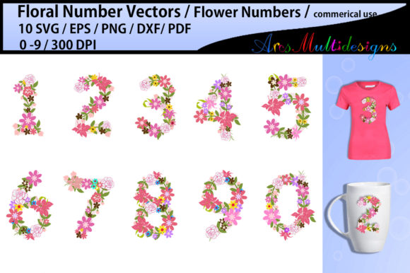 Print on Demand: Floral Numbers Clipart / Floral Numbers Graphic Illustrations By Arcs Multidesigns