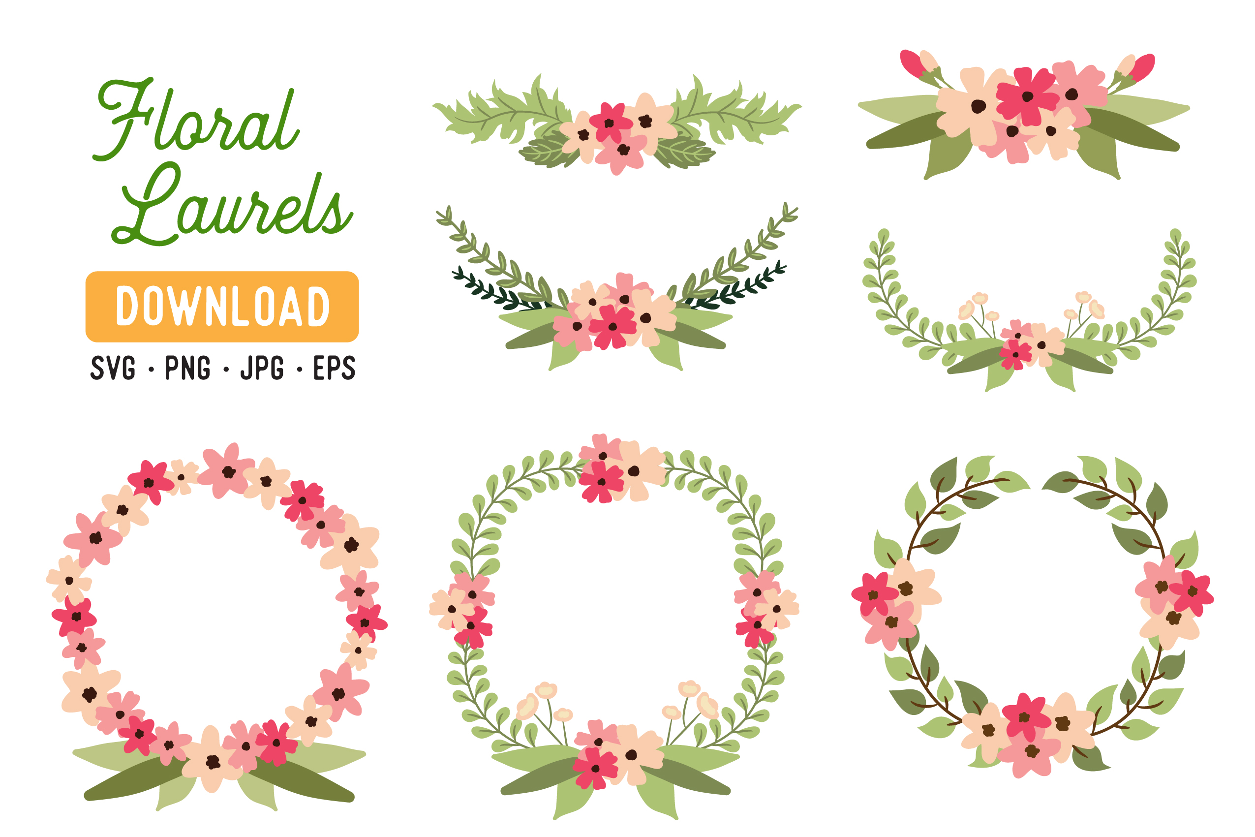 Download Free Flower Wreath Laurel Clipart Pack Graphic By The Gradient Fox for Cricut Explore, Silhouette and other cutting machines.