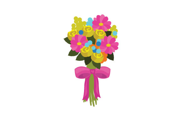 Download Free Flower Bouquet Colorful Assortment With A Bow Svg Cut File By for Cricut Explore, Silhouette and other cutting machines.