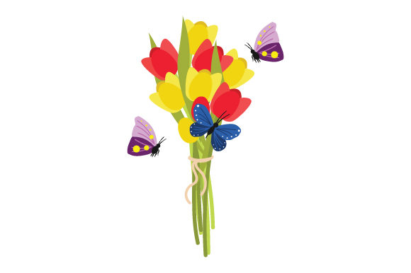 Download Free Flower Bouquet Tulips With Butterflies Svg Cut File By Creative for Cricut Explore, Silhouette and other cutting machines.