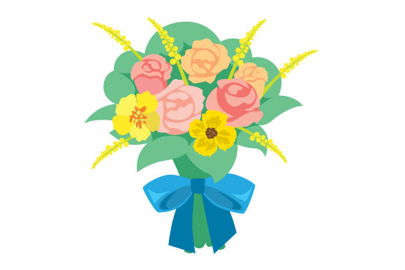 Download Free Flower Bouquet With Colorful Assortment And A Bow Svg Cut File for Cricut Explore, Silhouette and other cutting machines.