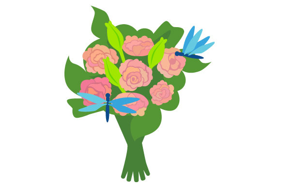 Download Free Flower Bouquet With Roses And Dragonfly Svg Cut File By Creative for Cricut Explore, Silhouette and other cutting machines.