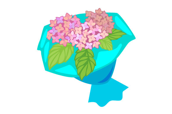 Download Free Flower Bouquet With Hydrangeas And Leaves Svg Cut File By for Cricut Explore, Silhouette and other cutting machines.