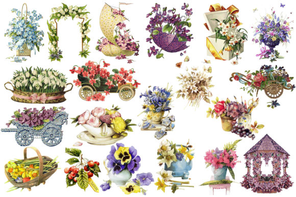 Print on Demand: Flowers Clipart Rose Clip Art Graphic Illustrations By retrowalldecor