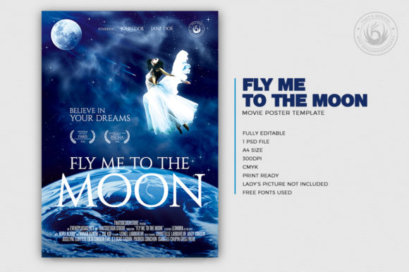Download Free Fly Me To The Moon Movie Poster Template Grafico Por for Cricut Explore, Silhouette and other cutting machines.
